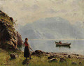 Young Girl by Norwegian Fjord - Hans Dahl