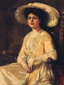 Portrait Of An Elegant Lady, Seated Three-Quarter-Length, Wearing A Plumed Hat - Hans Dahl