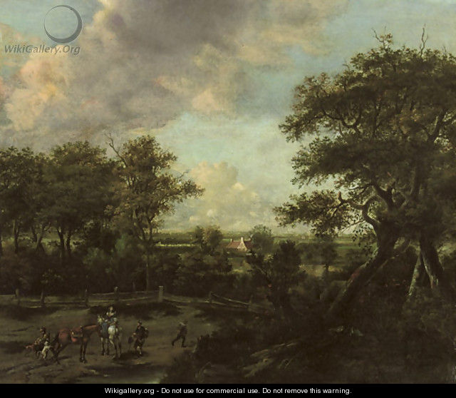An extensive landscape with horsemen and travellers near the edge of a wood - Haarlem School