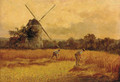 Figures harvesting before a windmill - Harry Wallace