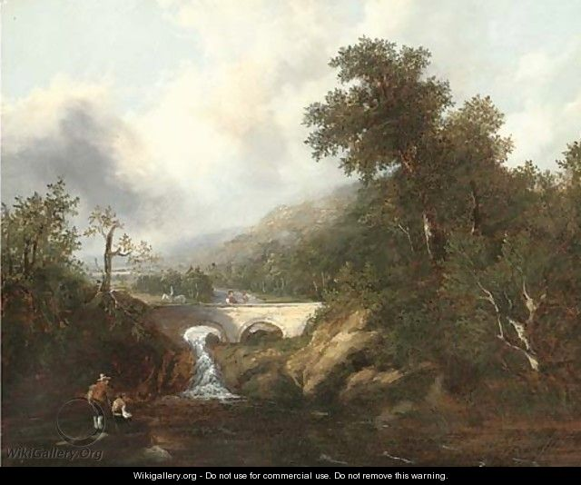 Anglers before a waterfall and bridge - Richard Hume Lancaster