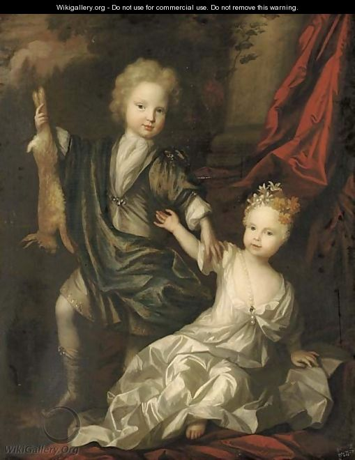 Double portrait of a boy and a girl of the Lister family - Pieter Harmansz Verelst