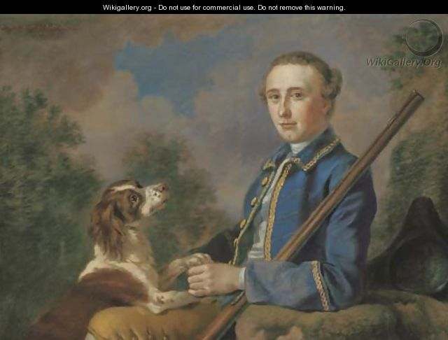 Portrait of Sir Henry Paulet St. John, Bt., three-quarter-length, seated in a landscape with his gun and spaniel - Francis Hayman