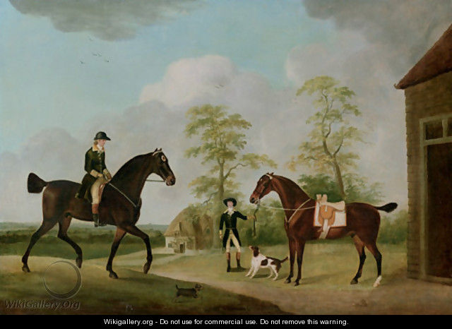 A Master of Foxhounds, said to be a Member of the Bowes Family, with an Attendant, a Saddled Bay Hunter and a Hound - Francis Sartorius