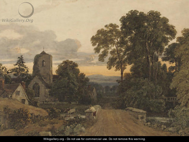 A lone figure on a bridge overlooking a sleepy village - Francis Oliver Finch
