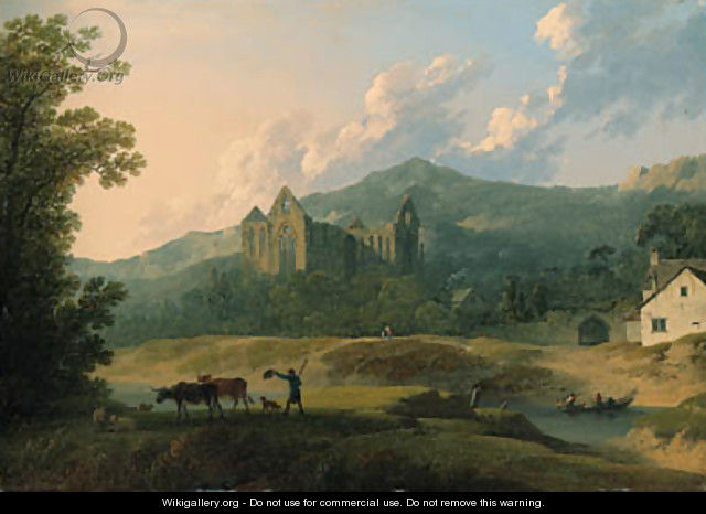View of Tintern Abbey, with a herdsman and livestock in the foreground - Francis Nicholson