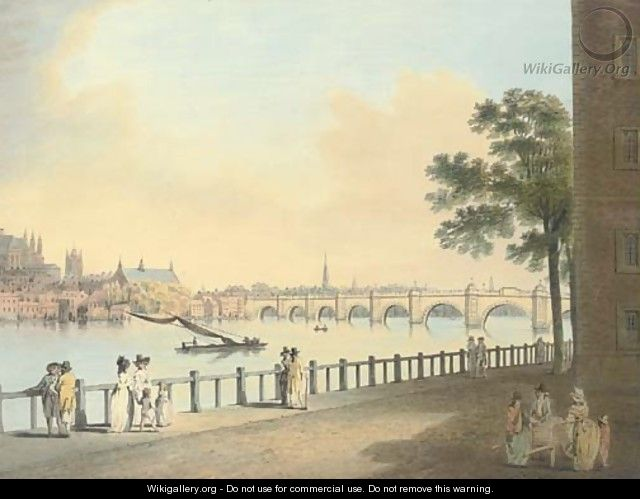 Westminster Bridge from Lambeth Palace, London - Francis Nicholson