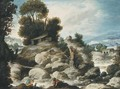A rocky river landscape with fishermen and shepherds resting with their flock - Francisco Collantes