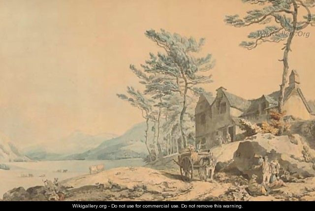 View of Coniston Water, Cumbria, with figures and a farm-cart in the foreground - Francis Wheatley