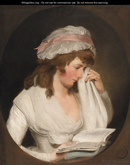 Portrait of a young lady, half-length, in a white dress and cap bonnet reading from Romeo and Juliet, feigned oval - Francis Wheatley