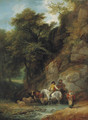 Figures and livestock at a woodland pool in Hawkstone Park, Shropshire - Francis Wheatley