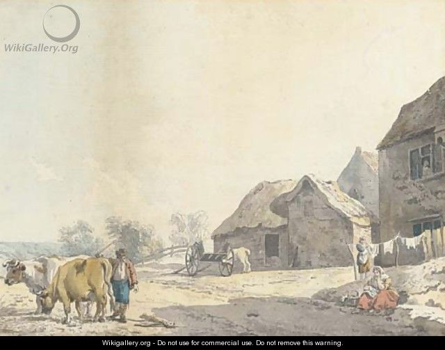 A farm on the outskirts of a village - Francis Wheatley