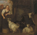 A shepherd couple courting by a barn, goats and a cow nearby - Francois Verwilt