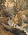 Soldiers beneath a torrent, on a mountain pass - Francois Louis Thomas Francia