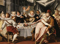 A Merry Company at a Banquet in a Palatial Interior - Franco-Flemish School