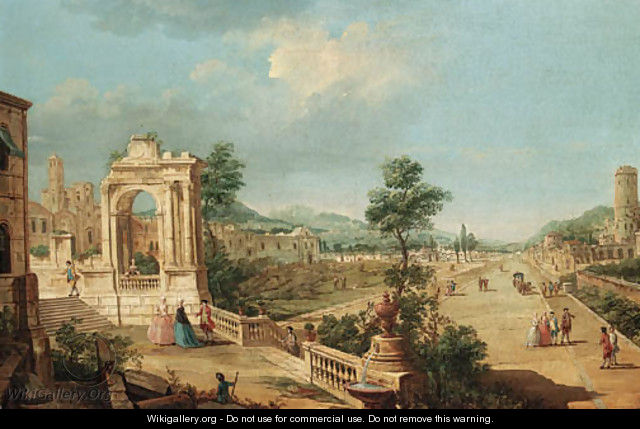 A capriccio view of a town with elegant figures on a terrace by a ruined archway - Francesco Battaglioli
