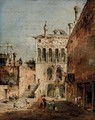 An architectural capriccio with a campiello - Francesco Guardi