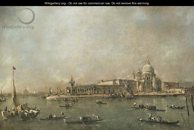 The Entrance to the Grand Canal, Venice, looking towards the Dogana and Santa Maria della Salute from the Riva del Grano, the Giudecca and the Redento - Francesco Guardi
