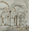 Porticoes in a courtyard, with two figures - Francesco Guardi