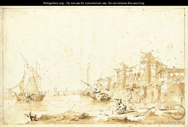 An imaginary view of a Venetian lagoon with a fortress by the shore - Francesco Guardi