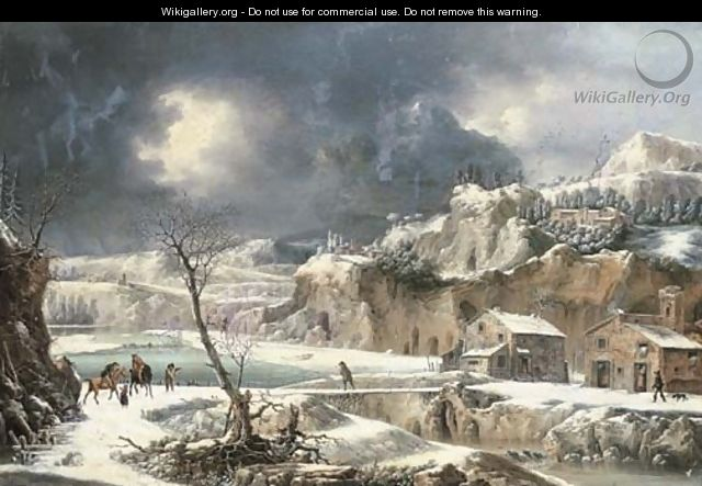 A winter landscape with travellers on horseback by a river - Francesco Foschi