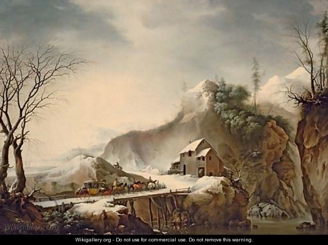 A mountainous winter landscape with travellers on horseback crossing a bridge - Francesco Foschi