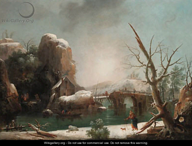A mountainous winter landscape with peasants on a barge - Francesco Foschi
