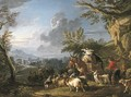 A landscape with travelers and a drover with his herd of goats on a path, a town beyond - Francesco Giuseppe Casanova