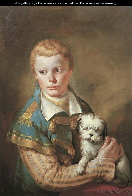 Portrait of a young boy with a dog - Francesco Zugno