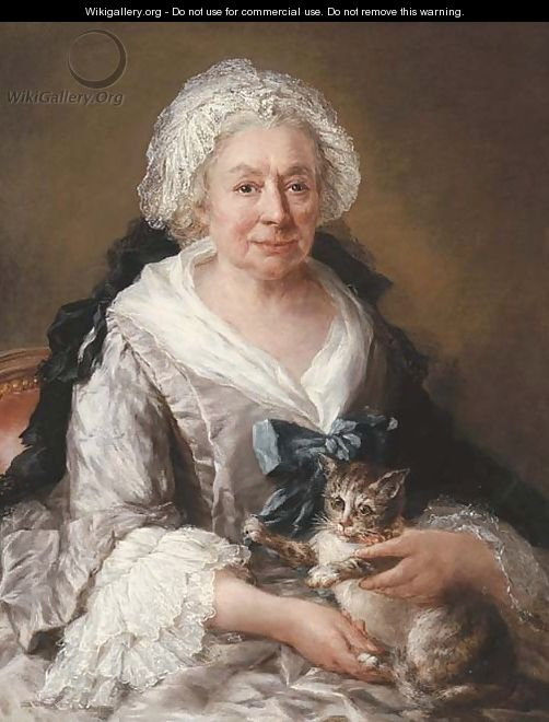 Portrait of an old lady, seated half-length, in a lilac satin dress with embroidered cuffs and head-dress and a blue ribbon, a cat on her lap - Francesco Zuccarelli