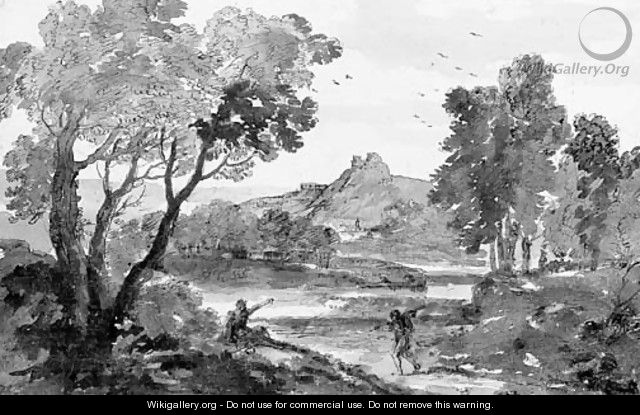 An Italian river landscape with two travellers on a road - Francesco Zuccarelli