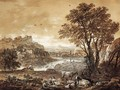 An extensive river landscape with shepherds resting under a tree by a cascade - Francesco Zuccarelli