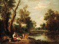 A wooded river landscape with figures resting on a bank - Francesco Zuccarelli