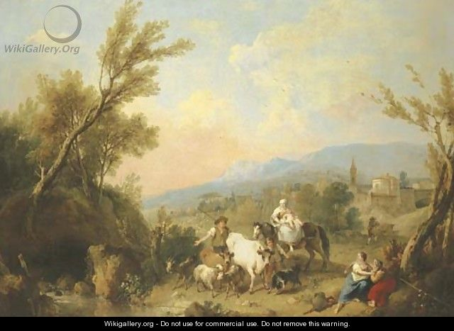 A landscape with peasants and animals by a river with a fortified town on a ridge beyond - Francesco Zuccarelli