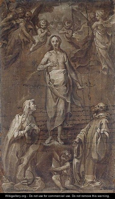 The Risen Christ Surrounded By Angels Appearing To Two Saints - Francesco Vanni