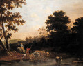 Cowherds watering cattle in an Italianate landscape - (after) Willem Romeyn