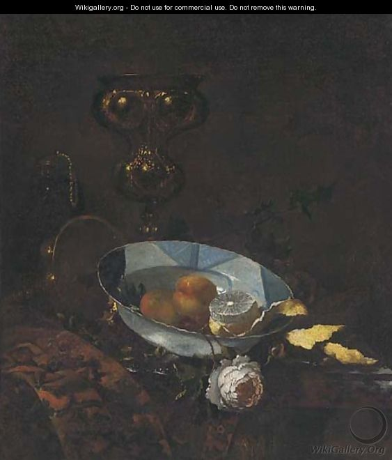 Fruit in a blue and white porcelain bowl - (after) Willem Kalf