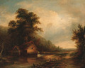 An angler by a watermill in a wooded landscape - (after) Walter Williams