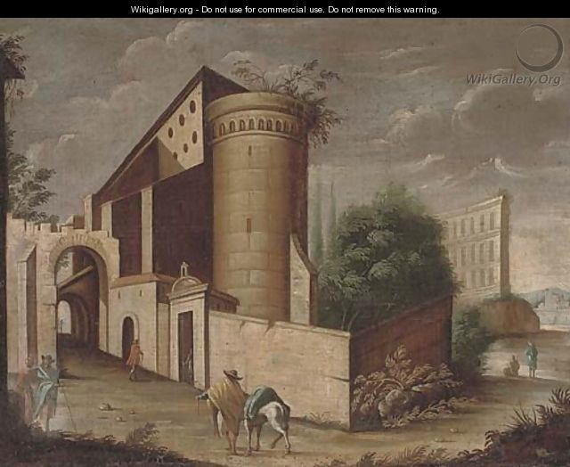 An architectural capriccio with a traveller and his horse - (after) Viviano Codazzi