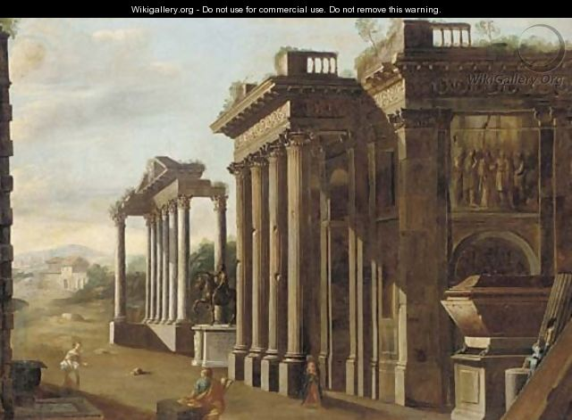 A capriccio of classical ruins with the statue of Marcus Aurelius, a draughtsman and other figures in the foreground - (after) Viviano Codazzi