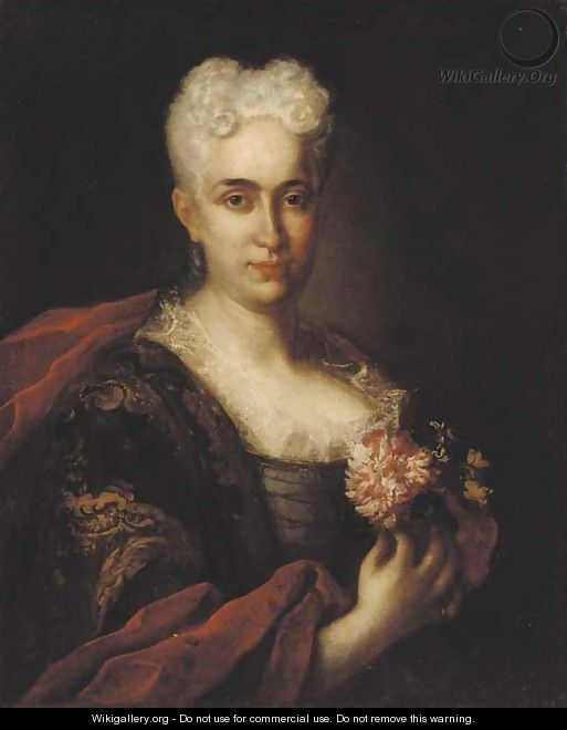 Portrait of a lady with gold brocade and a crimson wrap, holding a carnation - (after) Vittore Ghislandi