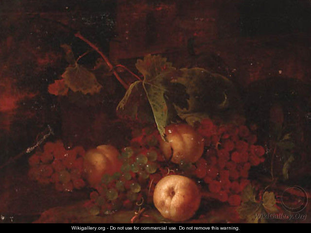 Grapes, peaches with vine leaves on a bank - (after) Tommaso Salini (Mao)