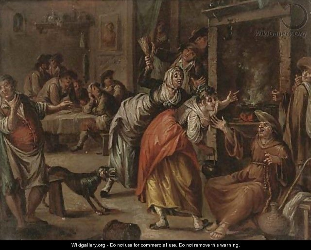 A monk drunk in a tavern - (after) William Hogarth