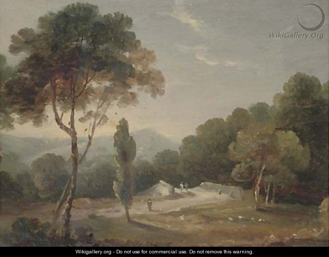 An Italianate landscape; and A castle by a lake - (after) William Daniell