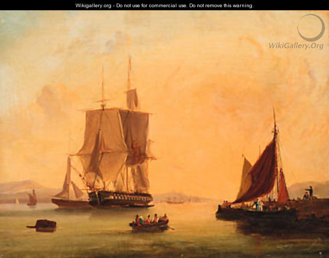 Shipping off the coast; and Shipping at anchor - (after) William Calcott Knell