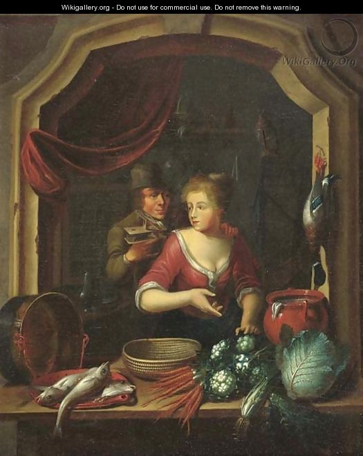 A woman cleaning vegetables and fish by a window, a man holding a birdcage nearby - (after) Willem Van Mieris