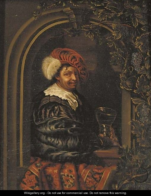 A drinker holding a roemer at a stone niche - (after) Willem Van Mieris