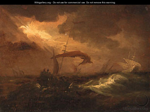 Shipping in a storm - (after) Willem Van De, The Younger Velde