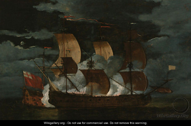 A naval engagement between a Dutch and British man