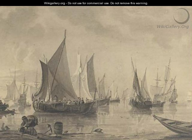 A crowded anchorage off the Low Countries - (after) Willem Van De Velde